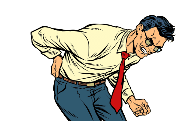 Så kan det se ut. Att stå framåtlutad är vanlig position då diskarna är svullna och hindrar dig att stå upprätt.