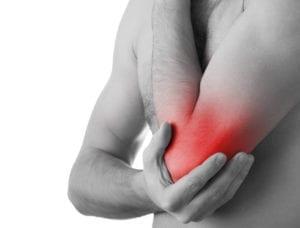 Typisk smärtområde för tennisarmbåge